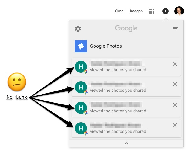 Google no crea enlaces para sus notificaciones