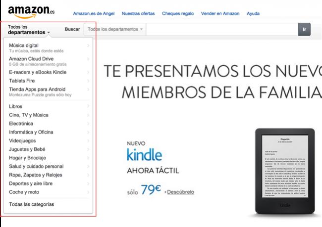 Menú de Amazon expandido y apuntando al botón