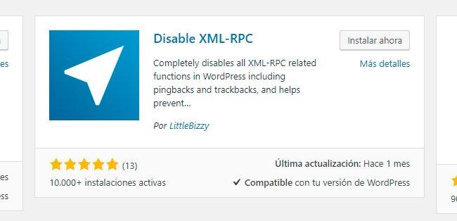 Plugin Disable XML-RPC