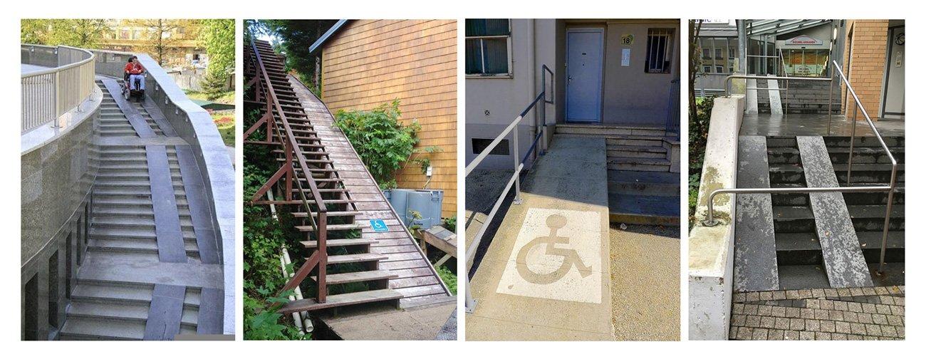 Cuatro fotos de rampas que deberían ser accesibles y no lo son