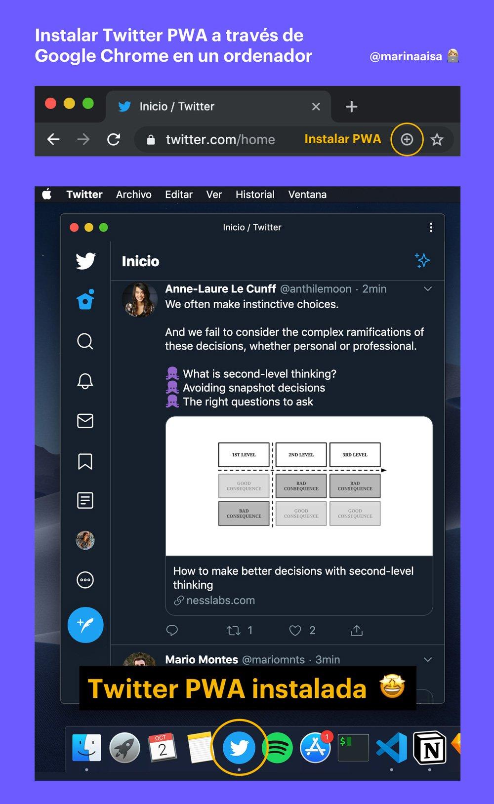Instalar Twitter PWA a través de Google Chrome en un ordenador
